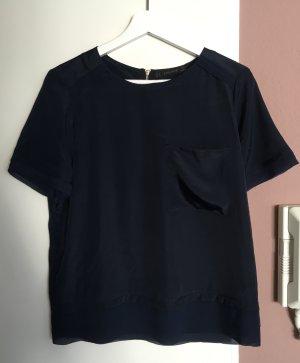 Kurzarmbluse von Zara, dunkelblau, Gr. M (38)