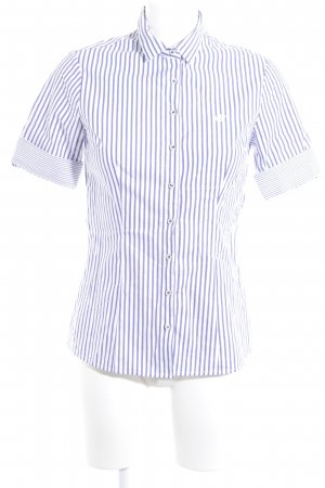 Short Sleeve Shirt cornflower blue-white striped pattern casual look