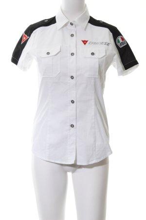 Camicia a maniche corte bianco-nero stile casual