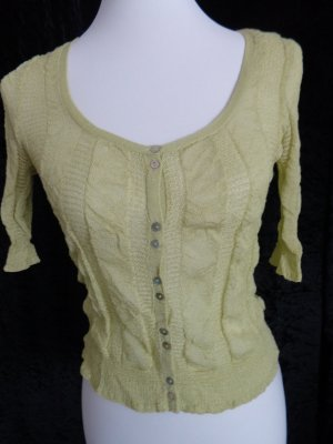 DKNY Short Sleeve Knitted Jacket lime-green rayon