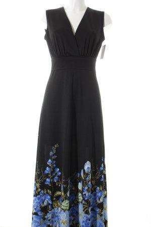 Kurzarmkleid schwarz-himmelblau Blumenmuster extravaganter Stil
