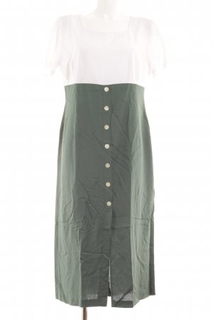 Kurzarmkleid waldgrün-weiß Casual-Look
