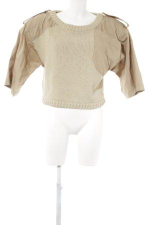 Sweater met korte mouwen camel-zandig bruin straat-mode uitstraling