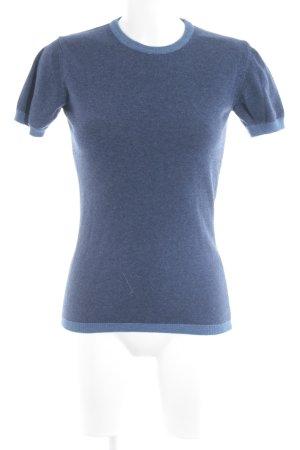 Maglione a maniche corte blu scuro-blu stile casual