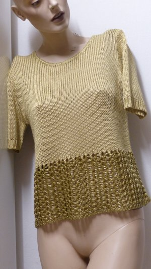 Ashley Brooke Short Sleeve Sweater sand brown-gold-colored mixture fibre