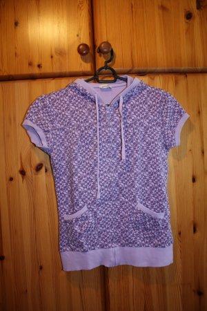 Kurzarmpullover mit Kapuze violett gemustert