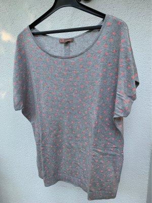 Comma Sweater met korte mouwen lichtgrijs-neonroos