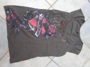Kurzarmshirt mit Spitze und Pailletten Gr. 38