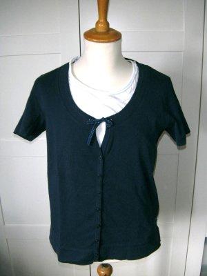 Kurzarmshirt, Shirt, T-Shirt, dunkelblau, weiß, Cecil, Gr. XL