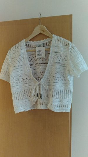 Short Sleeve Knitted Jacket white cotton