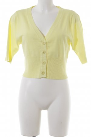 Short Sleeve Knitted Jacket pale yellow casual look