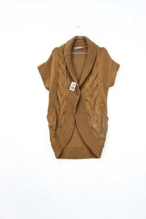 Hallhuber Short Sleeve Knitted Jacket brown polyacrylic