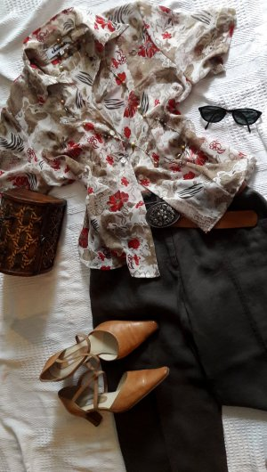 Kurzbluse Muster Sommer Vintage Floral &  Animalprint, Casual, Bussiness, Festival, Strand