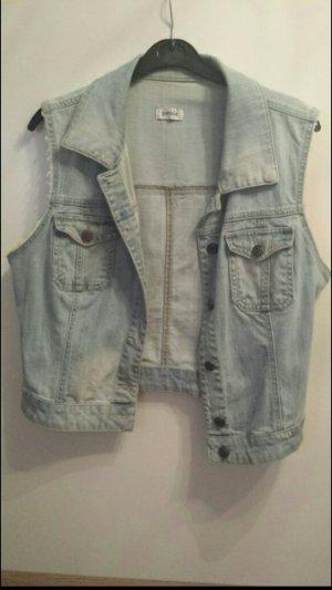 kurze ärmellose jeansjacke hellblau