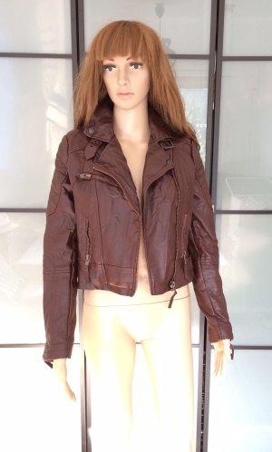 Review Veste en cuir synthétique brun rouge faux cuir