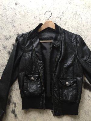 Kurze Blouson Lederjacke schwarz Gr S