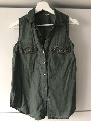 H&M Blusa senza maniche cachi-grigio-verde