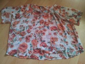 kurze Bluse weiß rot Blumen Rose durchsichtig Gr. XXL