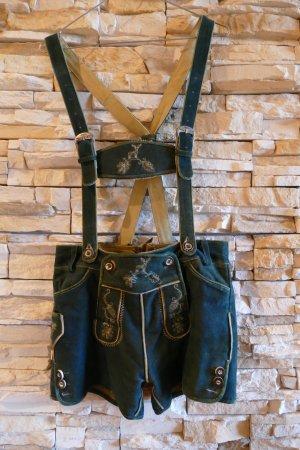 Pantalon traditionnel en cuir bleu pétrole-vert foncé cuir