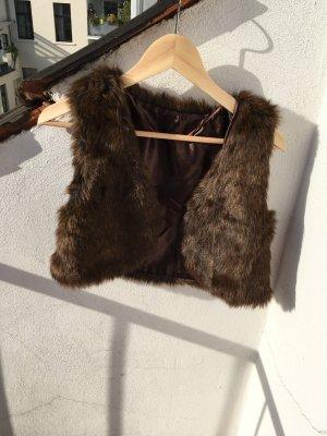Kurze Fake Fur Weste braun