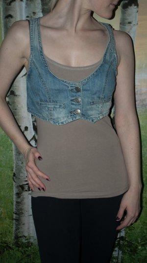 Kurze Fishbone Jeansweste