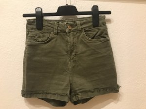 Bershka High-Waist-Shorts dark green cotton