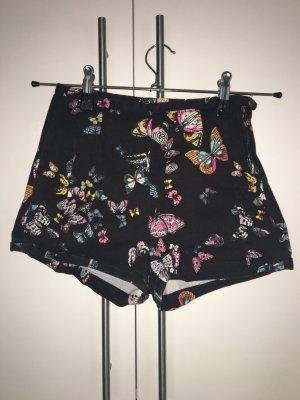 Kurze Hose mit hohem Bund und Schmetterlingsprint