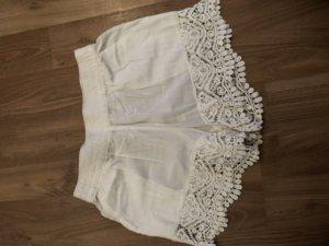 H&M Pantalon court blanc-blanc cassé