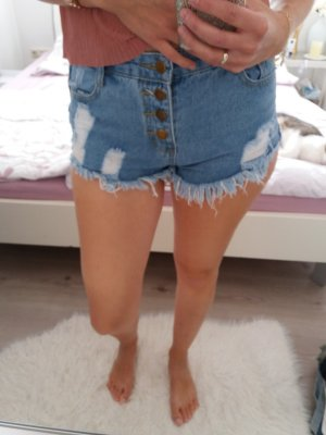 Kurze Hose Shorts blau High Waist Blogger 34 36 XS S