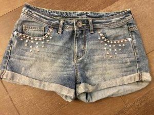 kurze Hose Shorts Hot Pants Neo Adidas mit Steinen kurze Jeans