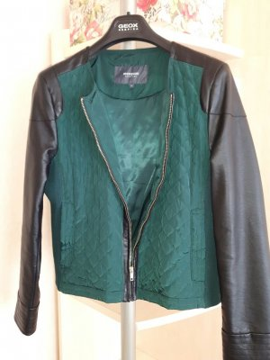 kurze Jacke Blazer mit Leder Gr. 44 Manguun schwarz grün