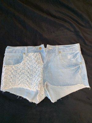 Primark Short moulant blanc-bleu clair