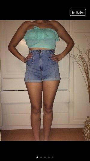HM Pantalon taille haute bleuet