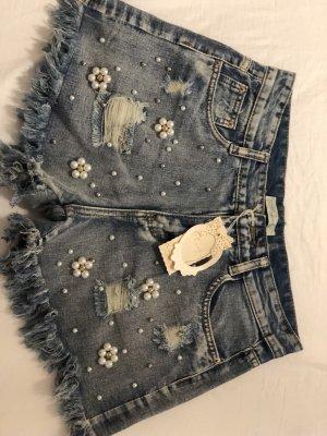 Pantalón corto de tela vaquera azul acero