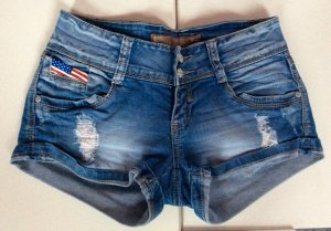 kurze Jeans-Hotpants im Used-Look