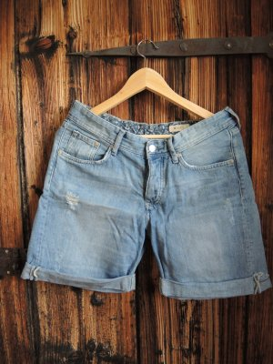 H&M Denim Shorts azure-cornflower blue cotton