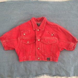 Kurze Jeans-Jacke in rot