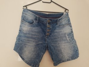 High-Waist-Shorts white-steel blue