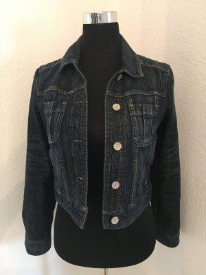 Kurze Jeansjacke in dunklem Denim