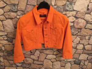 Kurze Jeansjacke in orange 38
