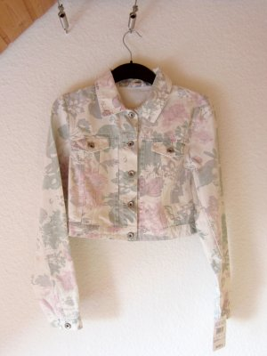 NEU: Kurze Jeansjacke mit pastellenen Blumen-Print