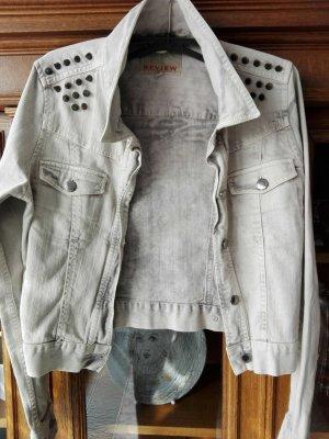kurze Jeansjacke Nieten grau