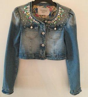 Kurze Jeansjacke von Fracomina mit zahlreichen Schmucksteinen, Größe M