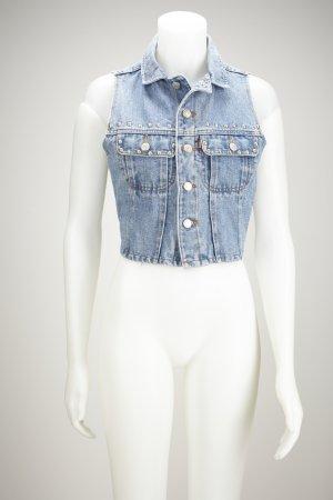 Kurze Jeansweste mit Nieten Applikationen