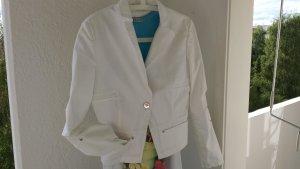Kurze kastige Jacke weiß Stretch mit silbernen Details, Gr. S 90ies Style