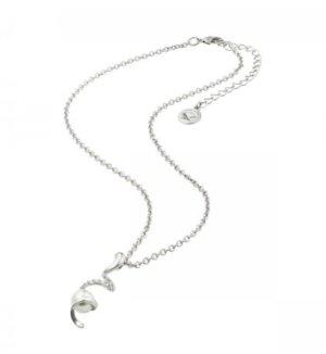 Kurze Kette Spirale Perle Zirkonia Silber
