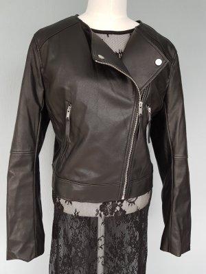 Kurze Kunstleder Bikerjacke von H&M Gr. 44