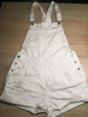 H&M Pantalón corto tipo peto blanco-color plata