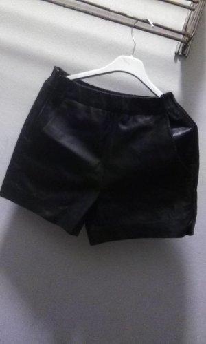 Hallhuber Pantalone in pelle nero Pelle
