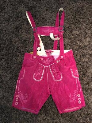 Kurze Lederhose in Pink